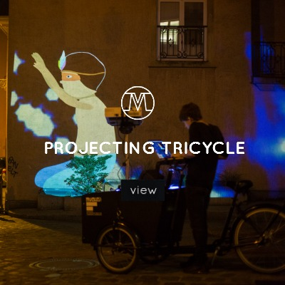 VoxMagna Agency, Projecting tricycle, animations on bikes, Mariana Rinaldi, digital artists, roving artists, events, marketing, new media artists